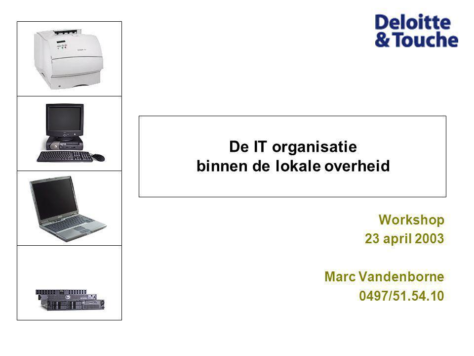 De IT organisatie binnen de lokale overheid Workshop 23 april 2003 Marc Vandenborne 0497/51.54.10