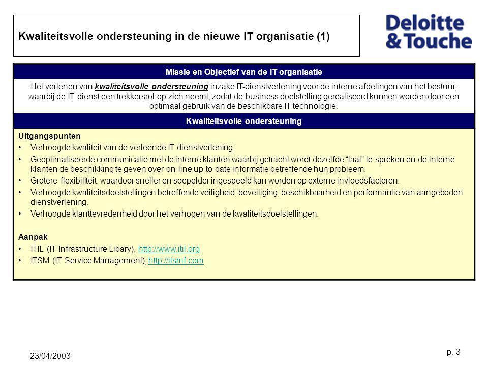 23/04/2003 p. 3 Kwaliteitsvolle ondersteuning in de nieuwe IT organisatie (1) Missie en Objectief van de IT organisatie Het verlenen van kwaliteitsvol