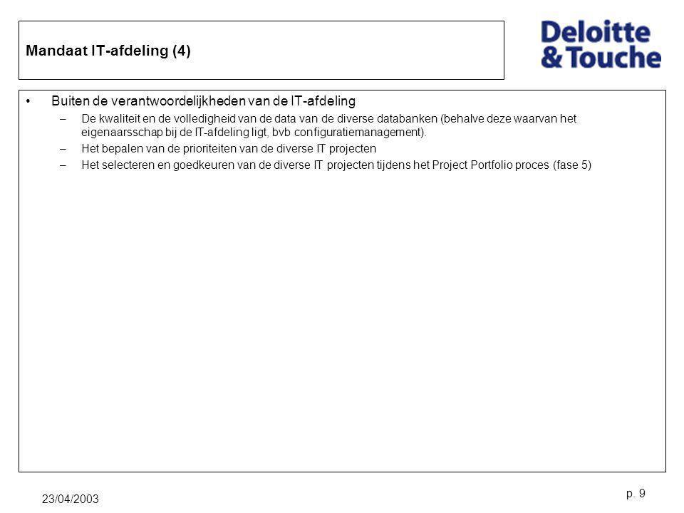 23/04/2003 p. 9 Mandaat IT-afdeling (4) Buiten de verantwoordelijkheden van de IT-afdeling –De kwaliteit en de volledigheid van de data van de diverse