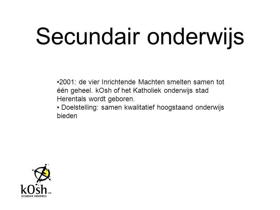 2001: de vier Inrichtende Machten smelten samen tot één geheel. kOsh of het Katholiek onderwijs stad Herentals wordt geboren. Doelstelling: samen kwal