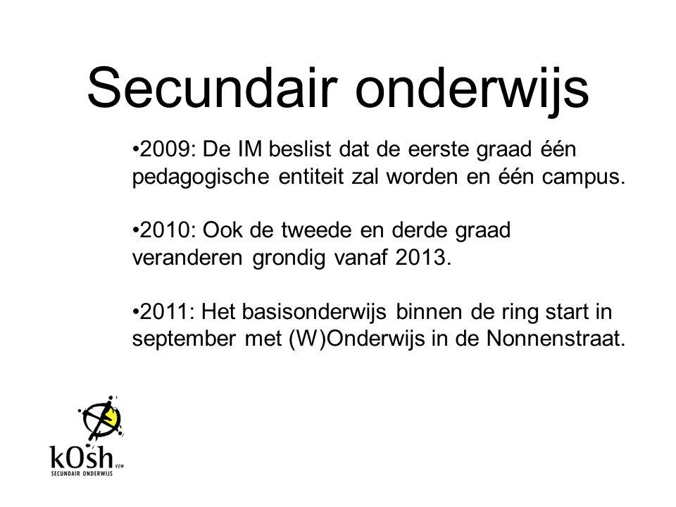 Secundair onderwijs 2009: De IM beslist dat de eerste graad één pedagogische entiteit zal worden en één campus. 2010: Ook de tweede en derde graad ver