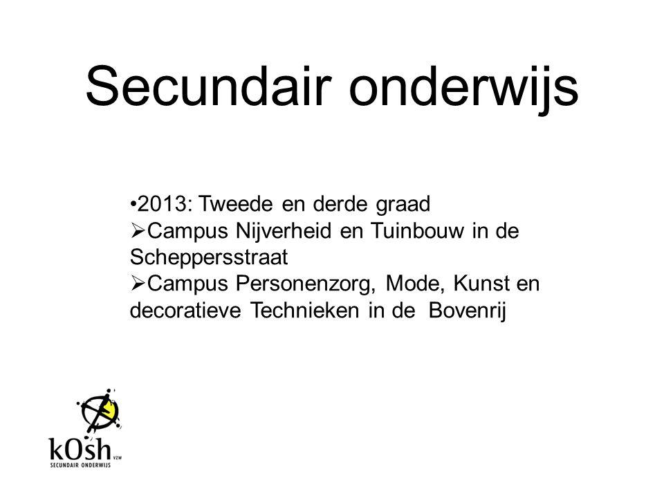 Secundair onderwijs 2013: Tweede en derde graad  Campus Nijverheid en Tuinbouw in de Scheppersstraat  Campus Personenzorg, Mode, Kunst en decoratiev