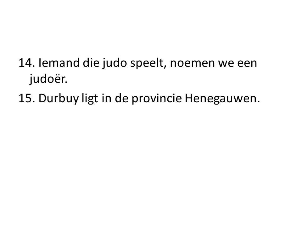 14. Iemand die judo speelt, noemen we een judoër. 15. Durbuy ligt in de provincie Henegauwen.