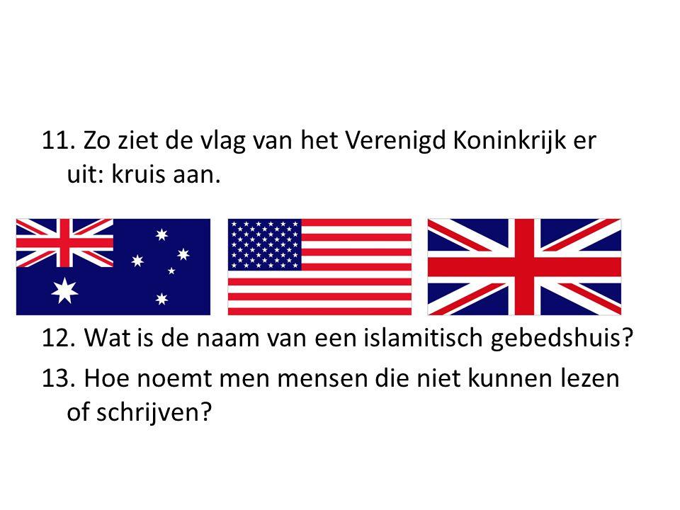 11. Zo ziet de vlag van het Verenigd Koninkrijk er uit: kruis aan. 12. Wat is de naam van een islamitisch gebedshuis? 13. Hoe noemt men mensen die nie
