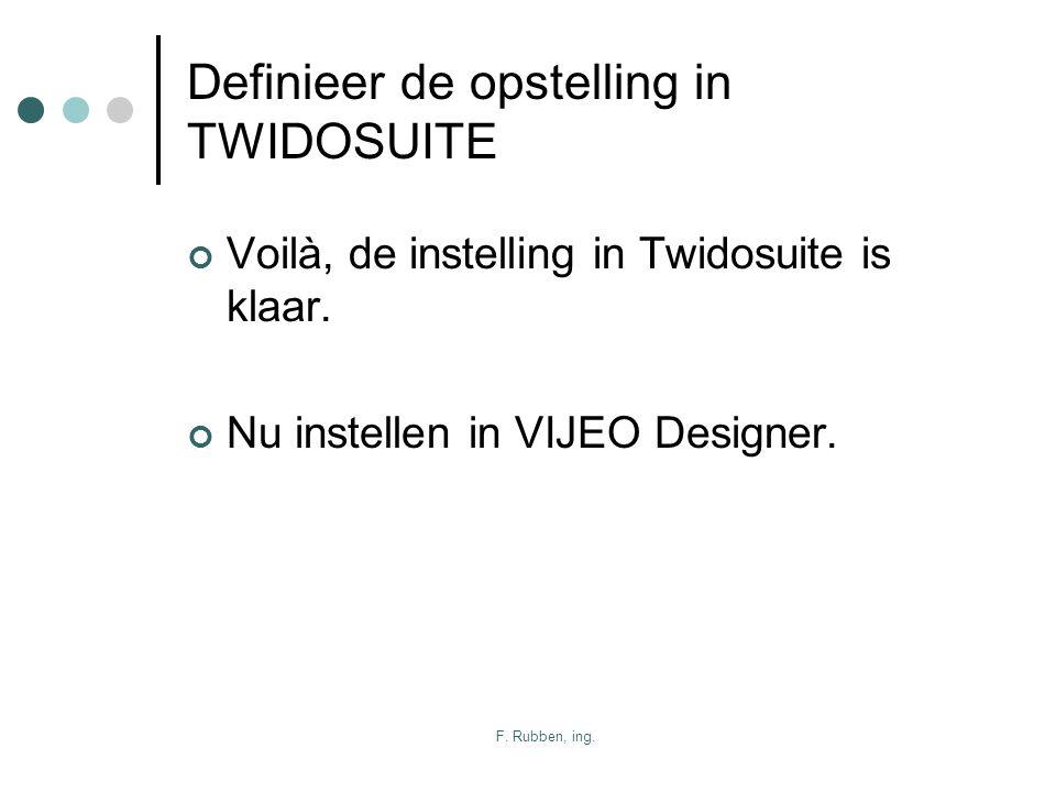 F. Rubben, ing. Definieer de opstelling in TWIDOSUITE Voilà, de instelling in Twidosuite is klaar. Nu instellen in VIJEO Designer.