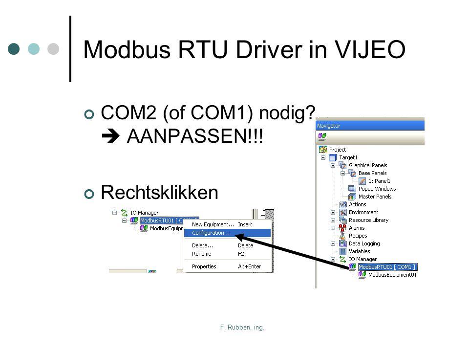 F. Rubben, ing. Modbus RTU Driver in VIJEO COM2 (of COM1) nodig?  AANPASSEN!!! Rechtsklikken