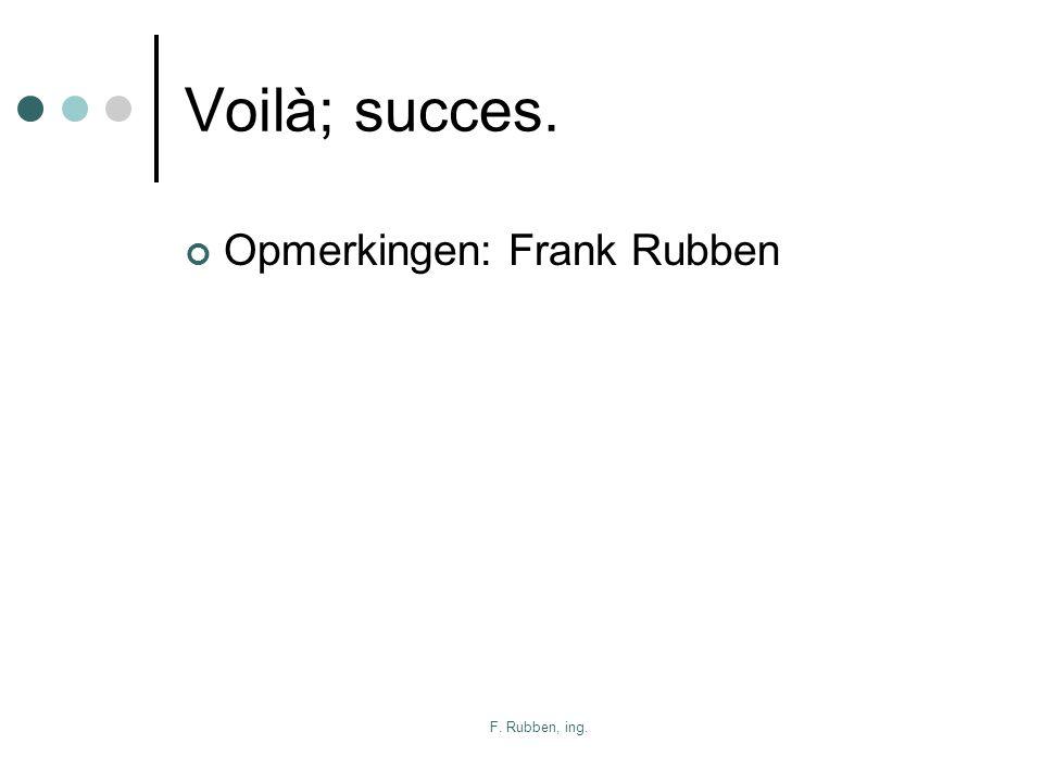 F. Rubben, ing. Voilà; succes. Opmerkingen: Frank Rubben