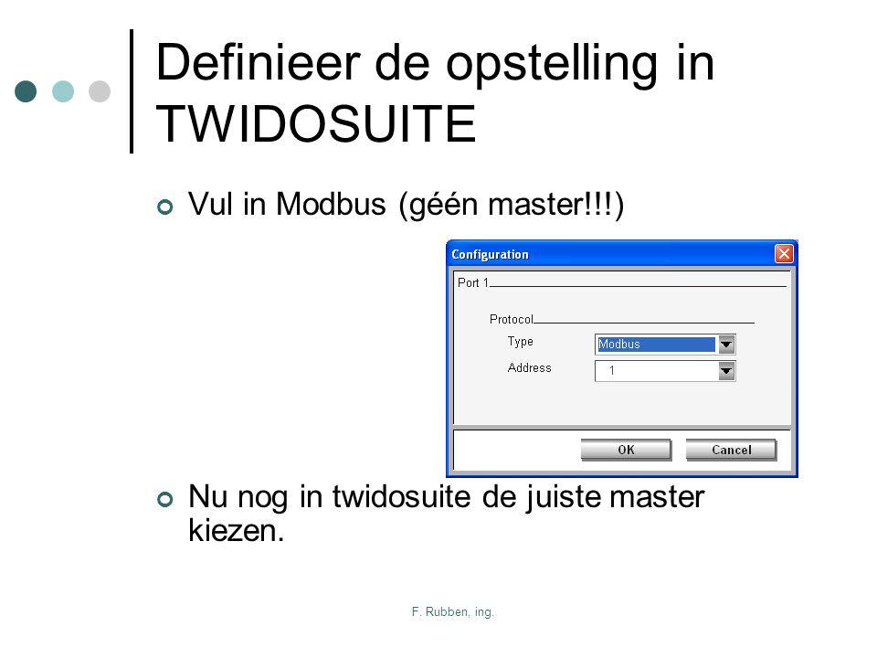 F. Rubben, ing. Definieer de opstelling in TWIDOSUITE Vul in Modbus (géén master!!!) Nu nog in twidosuite de juiste master kiezen.