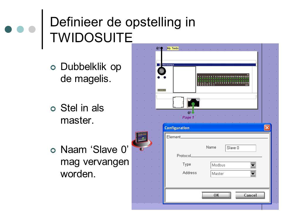 F. Rubben, ing. Definieer de opstelling in TWIDOSUITE Dubbelklik op de magelis. Stel in als master. Naam 'Slave 0' mag vervangen worden.