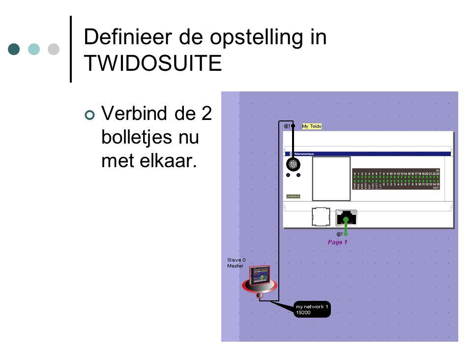F. Rubben, ing. Definieer de opstelling in TWIDOSUITE Verbind de 2 bolletjes nu met elkaar.