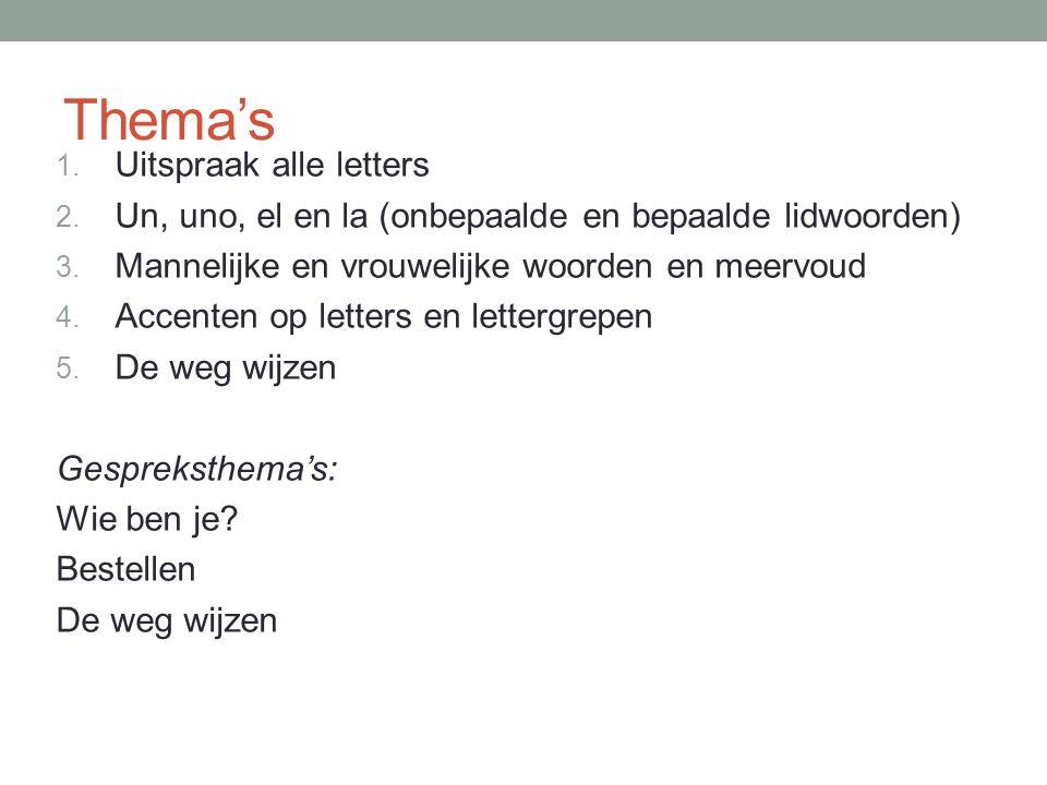 Thema's 1. Uitspraak alle letters 2. Un, uno, el en la (onbepaalde en bepaalde lidwoorden) 3. Mannelijke en vrouwelijke woorden en meervoud 4. Accente