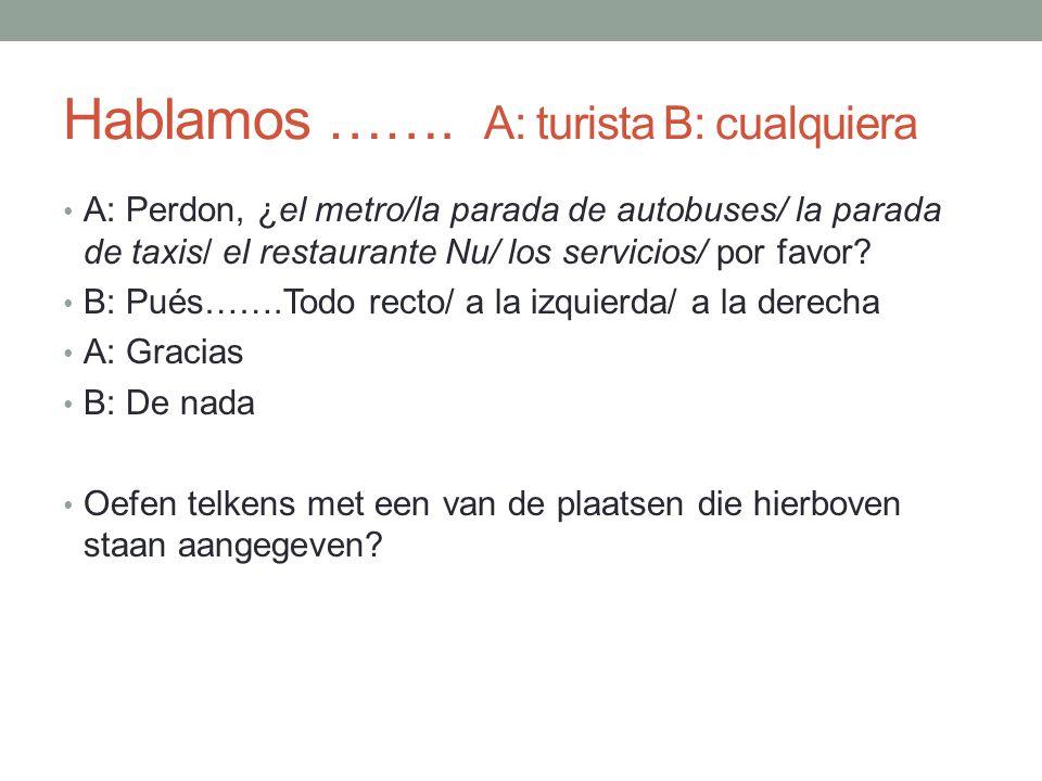 Hablamos ……. A: turista B: cualquiera A: Perdon, ¿el metro/la parada de autobuses/ la parada de taxis/ el restaurante Nu/ los servicios/ por favor? B: