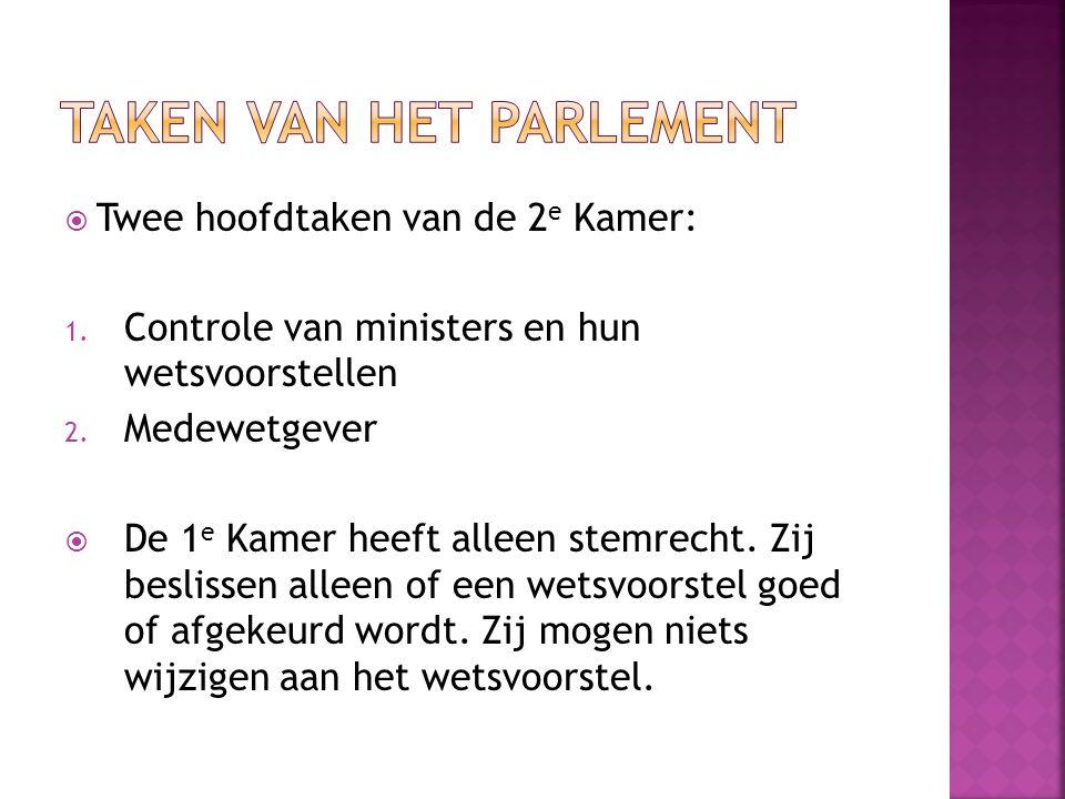  Twee hoofdtaken van de 2 e Kamer: 1. Controle van ministers en hun wetsvoorstellen 2. Medewetgever  De 1 e Kamer heeft alleen stemrecht. Zij beslis