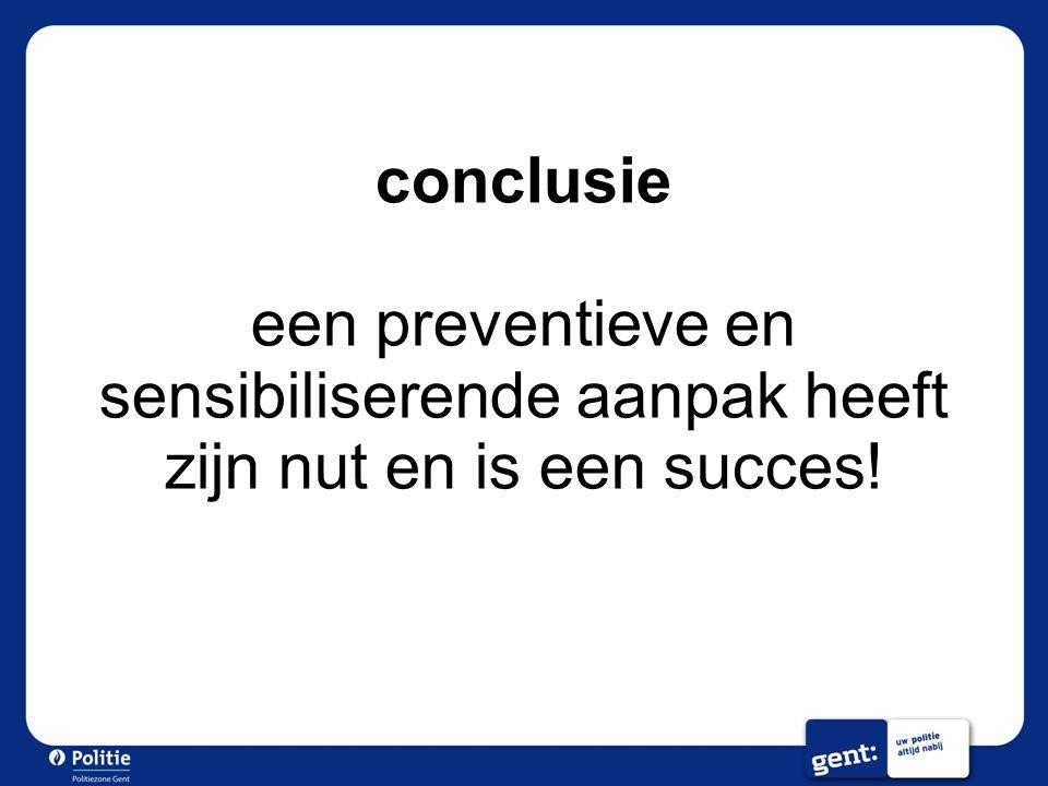 conclusie een preventieve en sensibiliserende aanpak heeft zijn nut en is een succes!