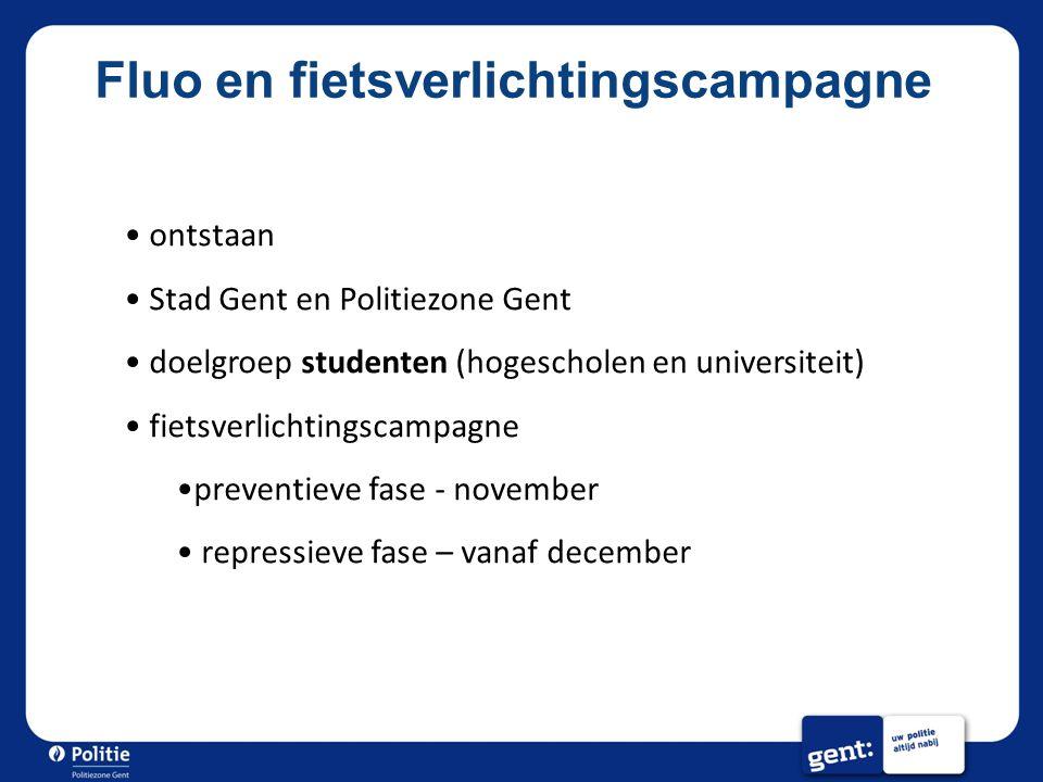 Fluo en fietsverlichtingscampagne ontstaan Stad Gent en Politiezone Gent doelgroep studenten (hogescholen en universiteit) fietsverlichtingscampagne preventieve fase - november repressieve fase – vanaf december