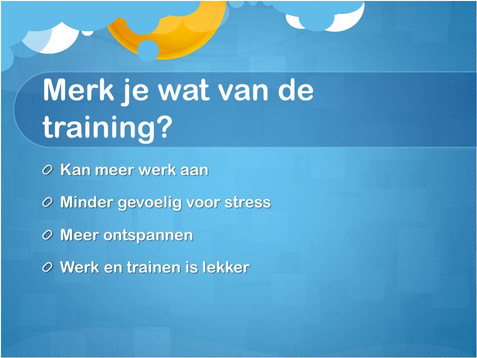 Merk je wat van de training? Kan meer werk aan Minder gevoelig voor stress Meer ontspannen Werk en trainen is lekker