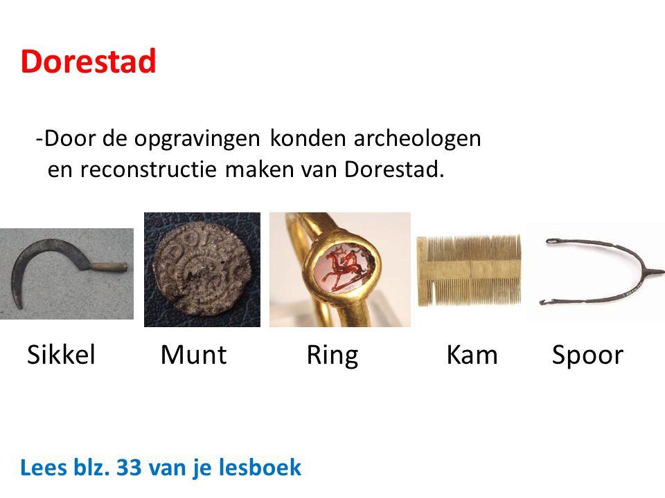 Dorestad -Door de opgravingen konden archeologen en reconstructie maken van Dorestad. Sikkel Munt Ring Kam Spoor Lees blz. 33 van je lesboek