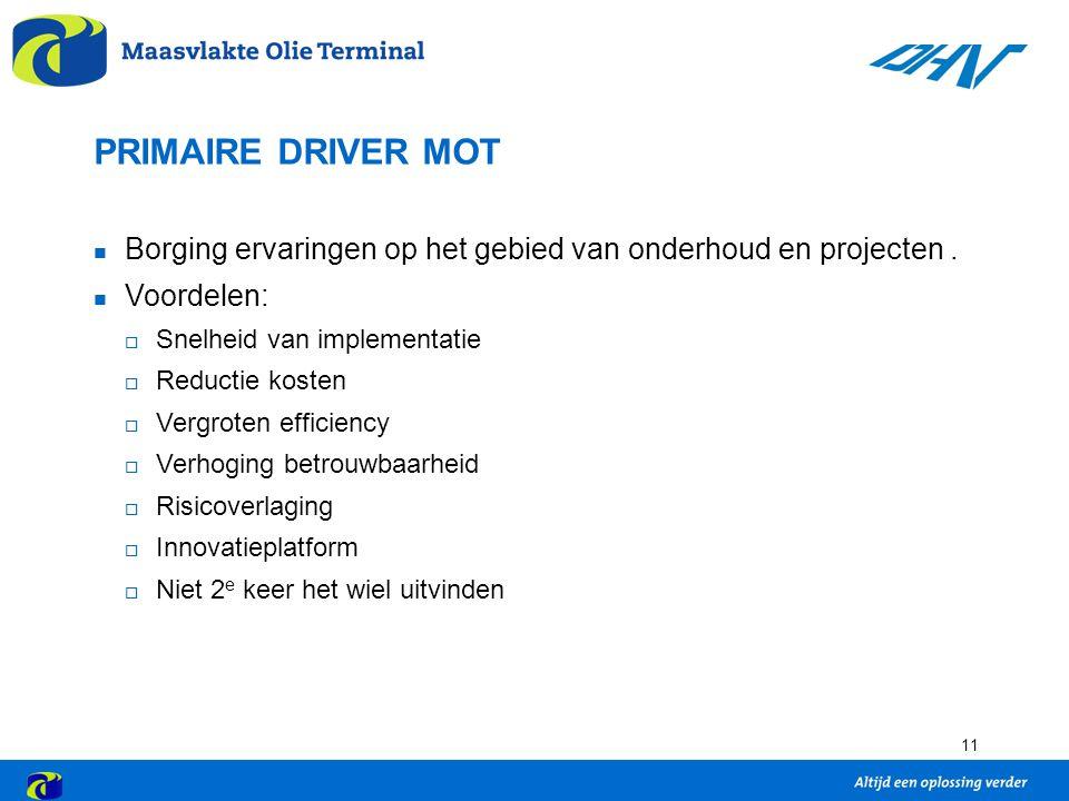 11 PRIMAIRE DRIVER MOT Borging ervaringen op het gebied van onderhoud en projecten.