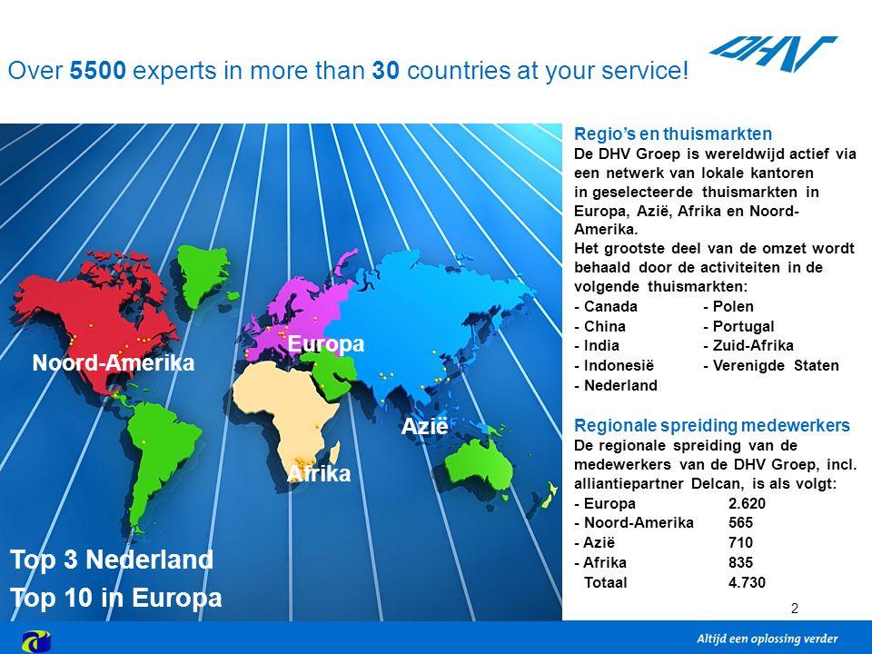 2 Regio's en thuismarkten De DHV Groep is wereldwijd actief via een netwerk van lokale kantoren in geselecteerde thuismarkten in Europa, Azië, Afrika en Noord- Amerika.