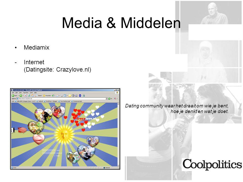 Media & Middelen Mediamix -Internet (Datingsite: Crazylove.nl) Dating community waar het draait om wie je bent, hoe je denkt en wat je doet.
