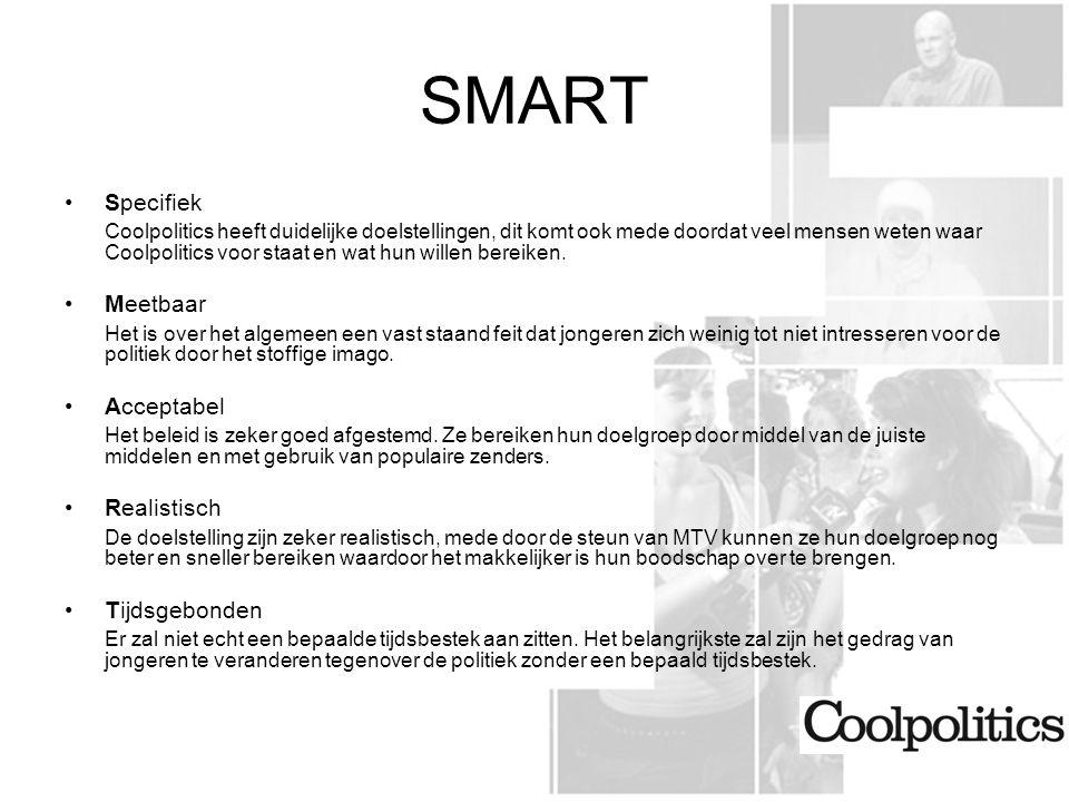 SMART Specifiek Coolpolitics heeft duidelijke doelstellingen, dit komt ook mede doordat veel mensen weten waar Coolpolitics voor staat en wat hun willen bereiken.
