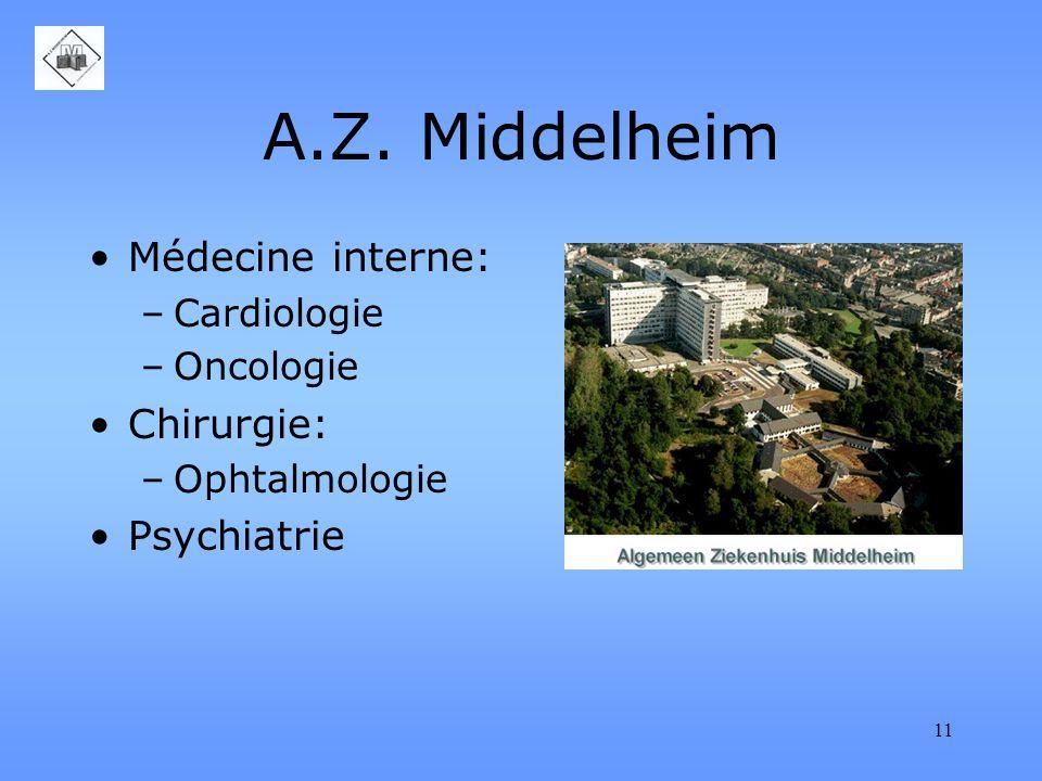 11 A.Z. Middelheim Médecine interne: –Cardiologie –Oncologie Chirurgie: –Ophtalmologie Psychiatrie