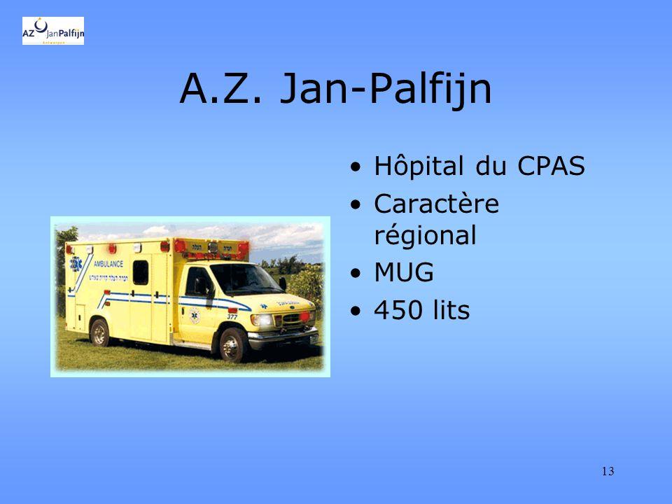 13 A.Z. Jan-Palfijn Hôpital du CPAS Caractère régional MUG 450 lits