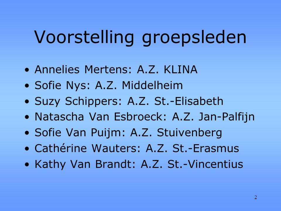 2 Voorstelling groepsleden Annelies Mertens: A.Z. KLINA Sofie Nys: A.Z.