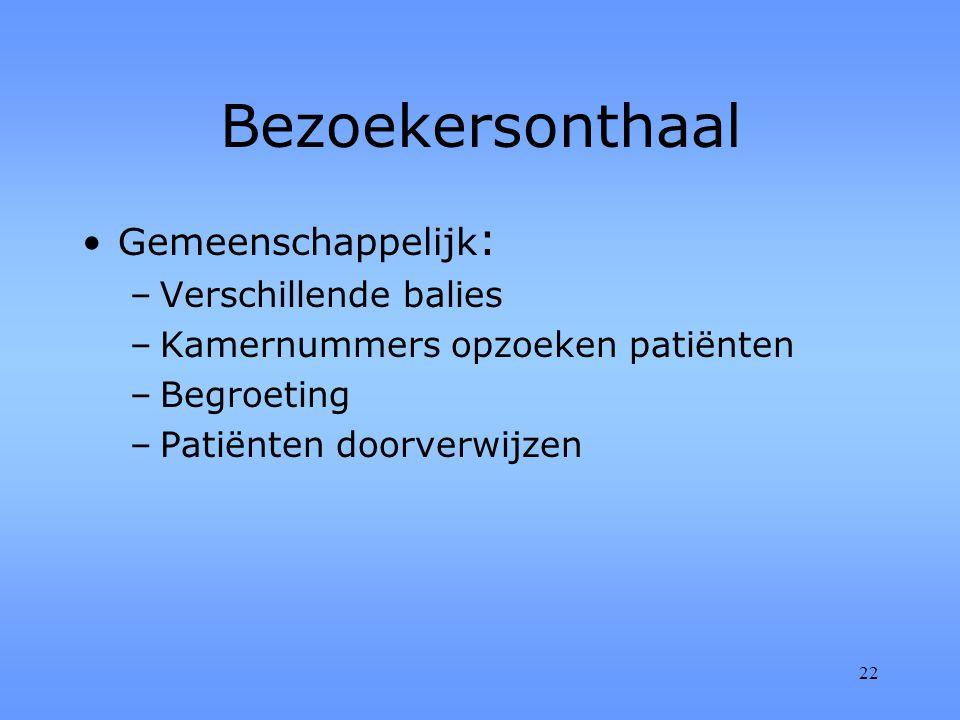 22 Bezoekersonthaal Gemeenschappelijk : –Verschillende balies –Kamernummers opzoeken patiënten –Begroeting –Patiënten doorverwijzen