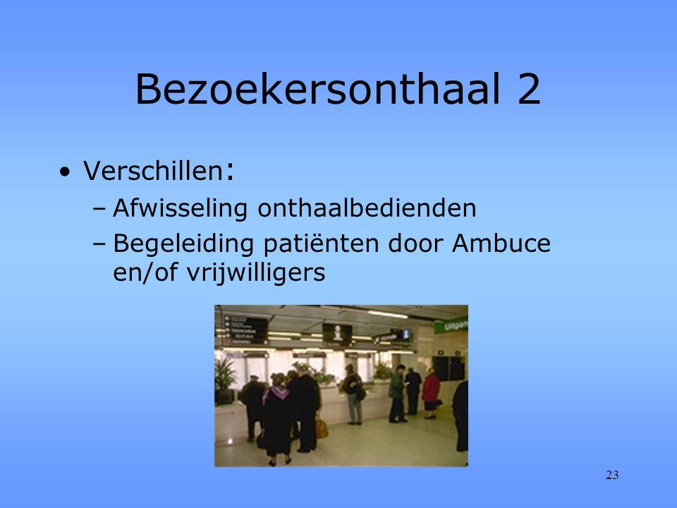 23 Bezoekersonthaal 2 Verschillen : –Afwisseling onthaalbedienden –Begeleiding patiënten door Ambuce en/of vrijwilligers