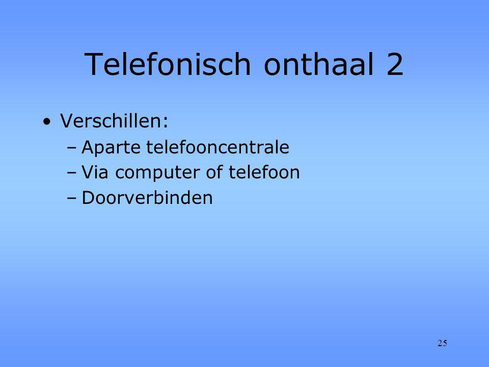 25 Telefonisch onthaal 2 Verschillen: –Aparte telefooncentrale –Via computer of telefoon –Doorverbinden