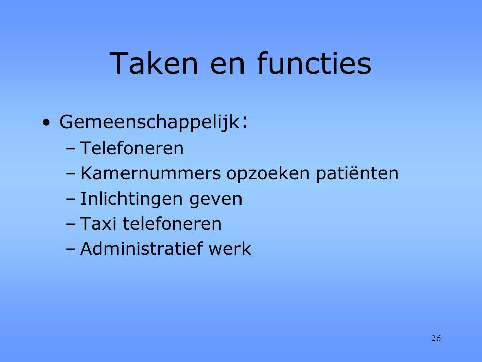 26 Taken en functies Gemeenschappelijk : –Telefoneren –Kamernummers opzoeken patiënten –Inlichtingen geven –Taxi telefoneren –Administratief werk