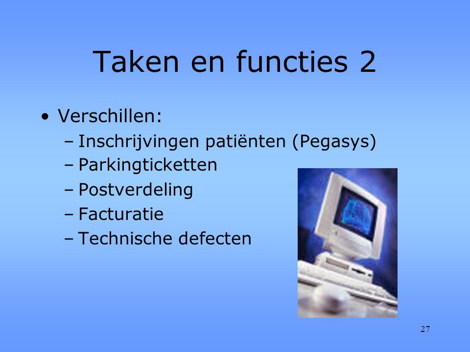 27 Taken en functies 2 Verschillen: –Inschrijvingen patiënten (Pegasys) –Parkingticketten –Postverdeling –Facturatie –Technische defecten
