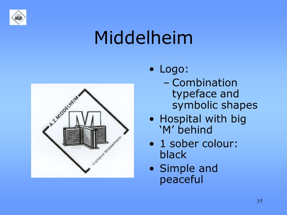 35 Middelheim Logo: –Combination typeface and symbolic shapes Hospital with big 'M' behind 1 sober colour: black Simple and peaceful