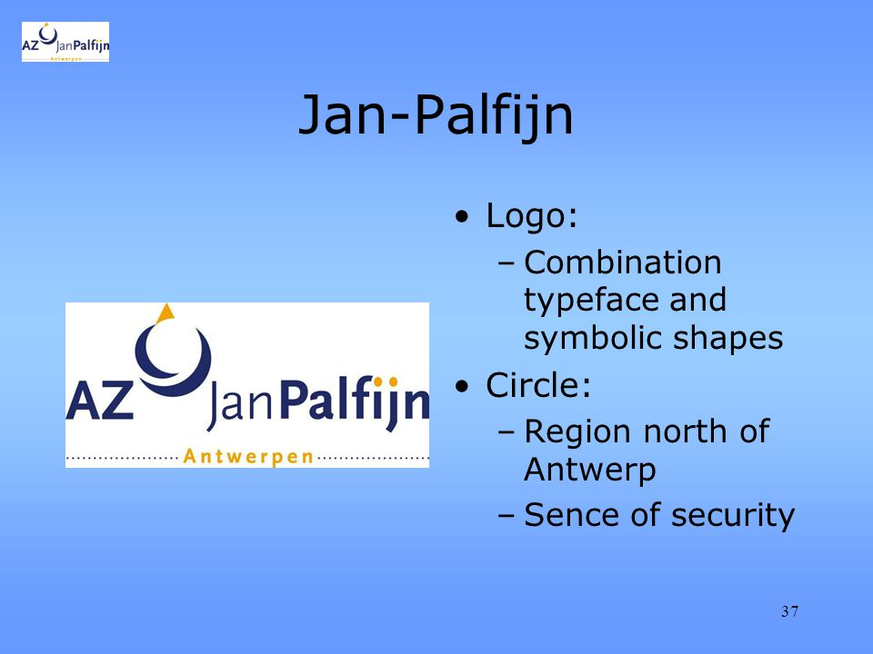 37 Jan-Palfijn Logo: –Combination typeface and symbolic shapes Circle: –Region north of Antwerp –Sence of security