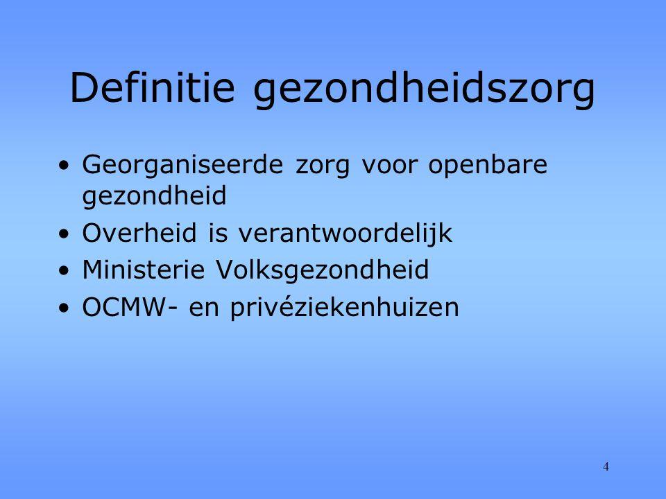 4 Definitie gezondheidszorg Georganiseerde zorg voor openbare gezondheid Overheid is verantwoordelijk Ministerie Volksgezondheid OCMW- en privéziekenhuizen