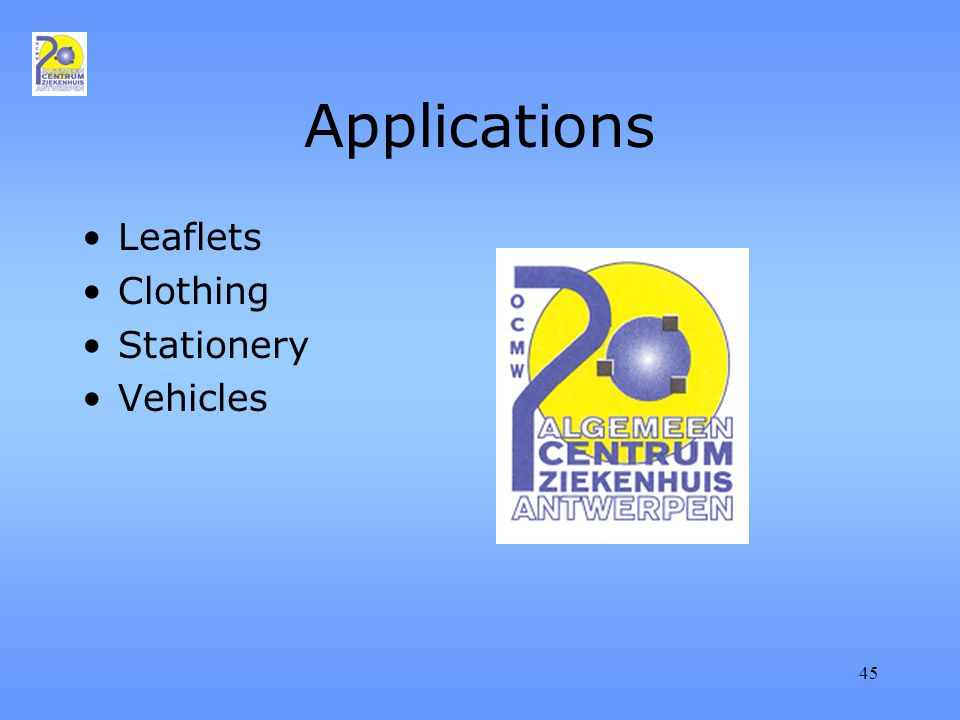 45 Applications Leaflets Clothing Stationery Vehicles