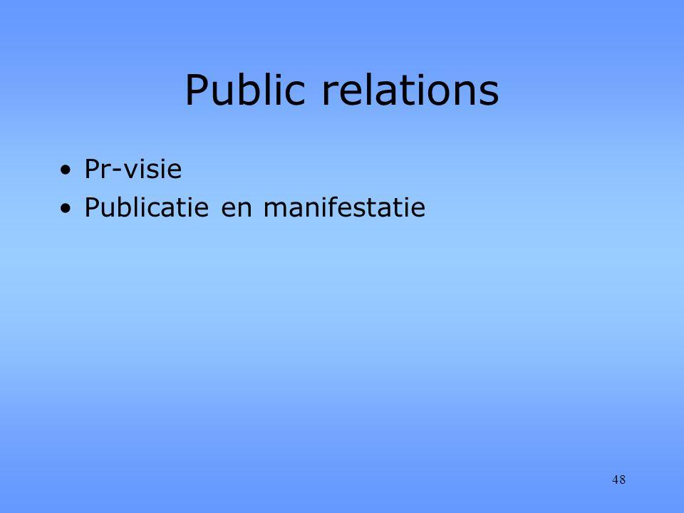 48 Public relations Pr-visie Publicatie en manifestatie