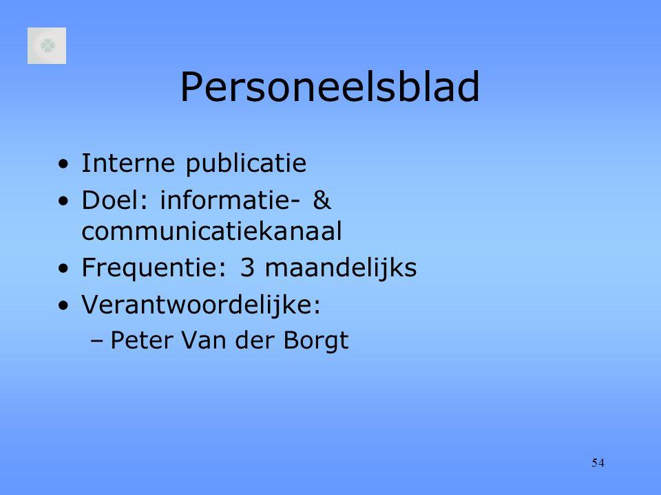 54 Personeelsblad Interne publicatie Doel: informatie- & communicatiekanaal Frequentie: 3 maandelijks Verantwoordelijke : –Peter Van der Borgt