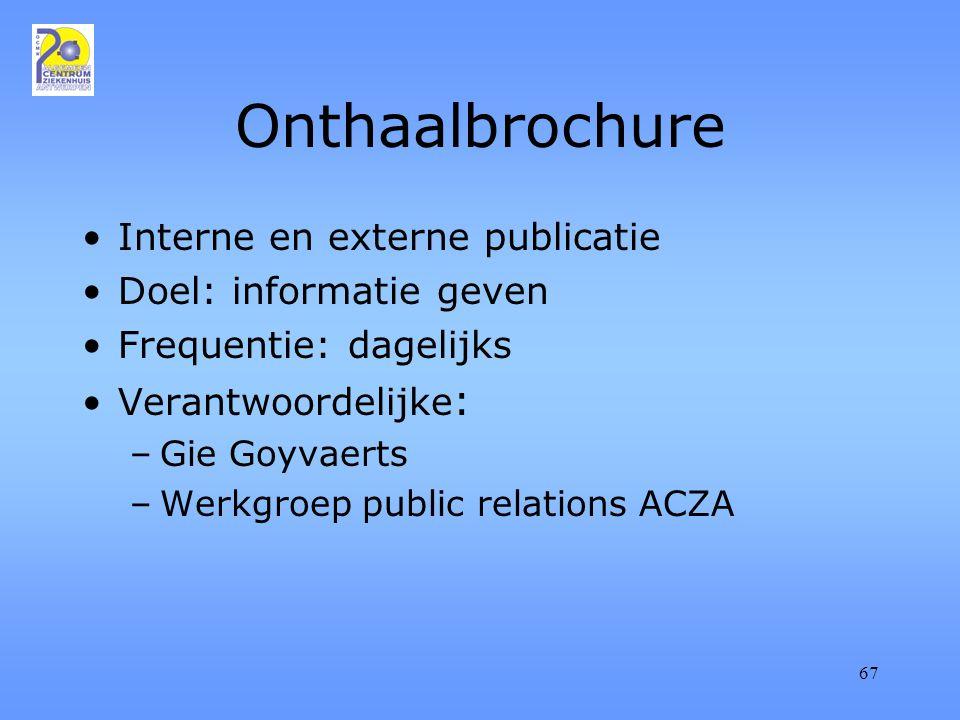 67 Onthaalbrochure Interne en externe publicatie Doel: informatie geven Frequentie: dagelijks Verantwoordelijke : –Gie Goyvaerts –Werkgroep public relations ACZA