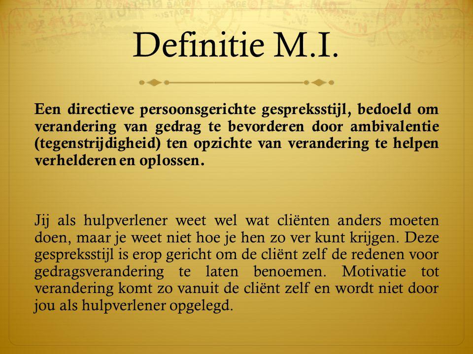 Definitie M.I. Een directieve persoonsgerichte gespreksstijl, bedoeld om verandering van gedrag te bevorderen door ambivalentie (tegenstrijdigheid) te