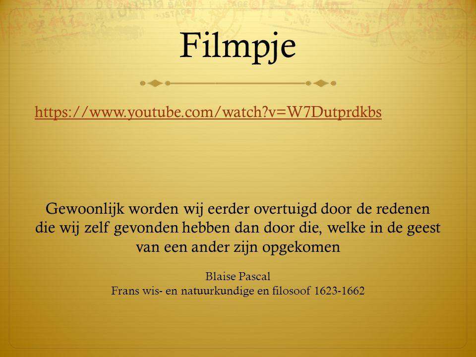 Filmpje https://www.youtube.com/watch?v=W7Dutprdkbs Gewoonlijk worden wij eerder overtuigd door de redenen die wij zelf gevonden hebben dan door die,
