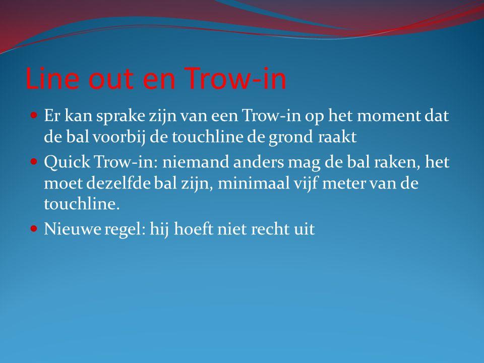 Line out en Trow-in Er kan sprake zijn van een Trow-in op het moment dat de bal voorbij de touchline de grond raakt Quick Trow-in: niemand anders mag