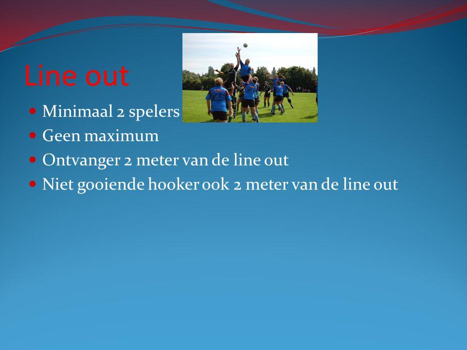 Line out Minimaal 2 spelers Geen maximum Ontvanger 2 meter van de line out Niet gooiende hooker ook 2 meter van de line out