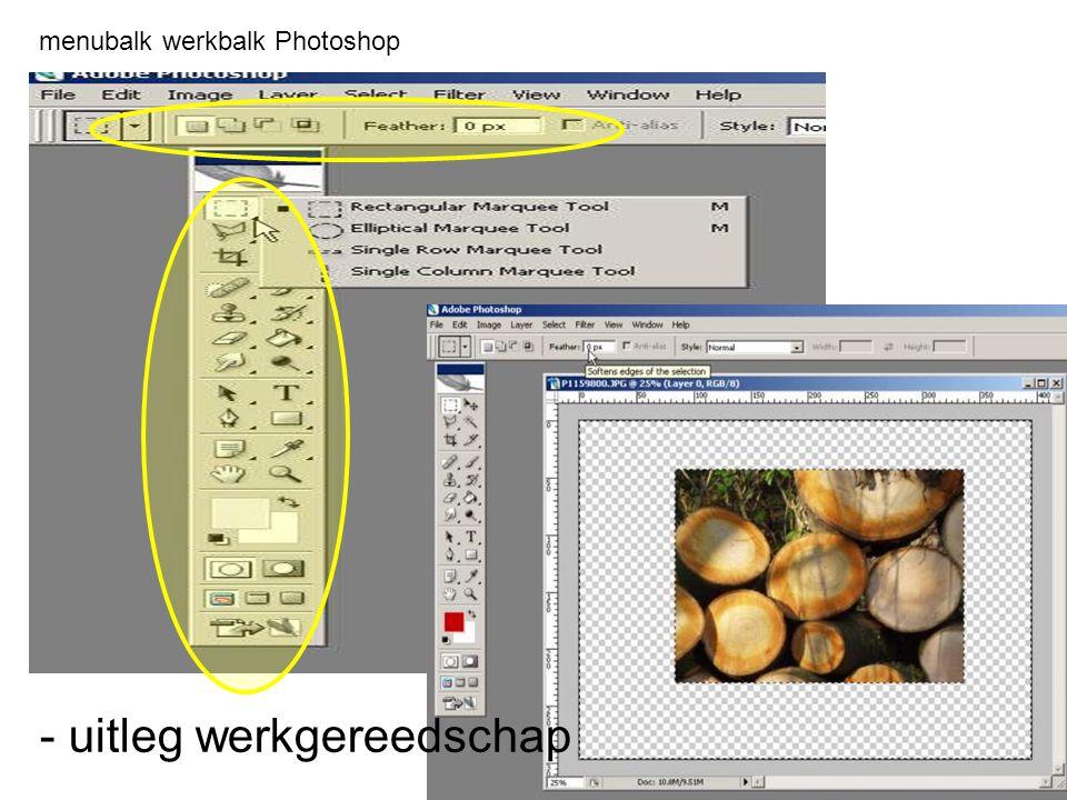 menubalk werkbalk Photoshop - uitleg werkgereedschap