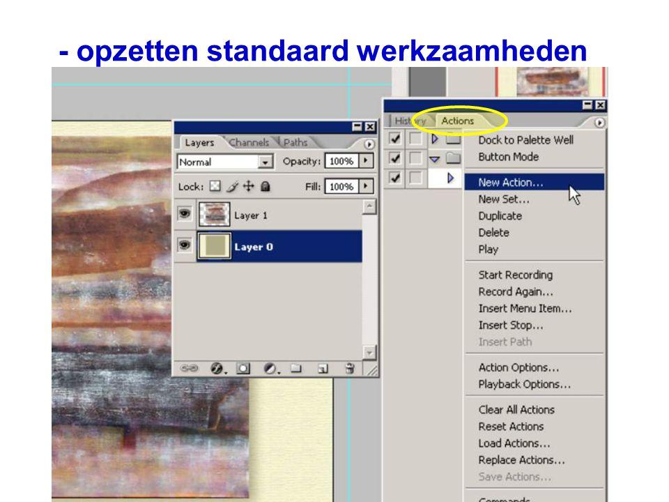 - opzetten standaard werkzaamheden