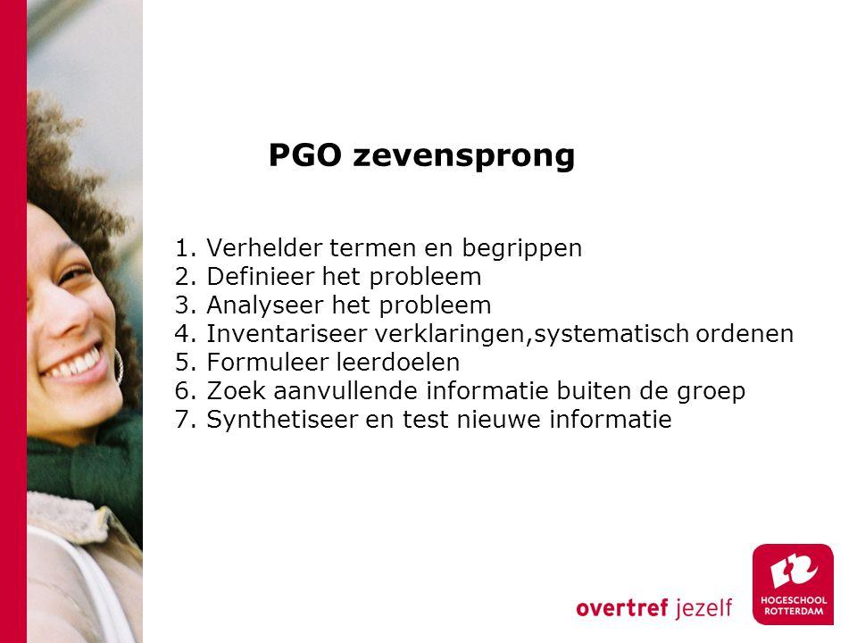 PGO zevensprong 1. Verhelder termen en begrippen 2. Definieer het probleem 3. Analyseer het probleem 4. Inventariseer verklaringen,systematisch ordene