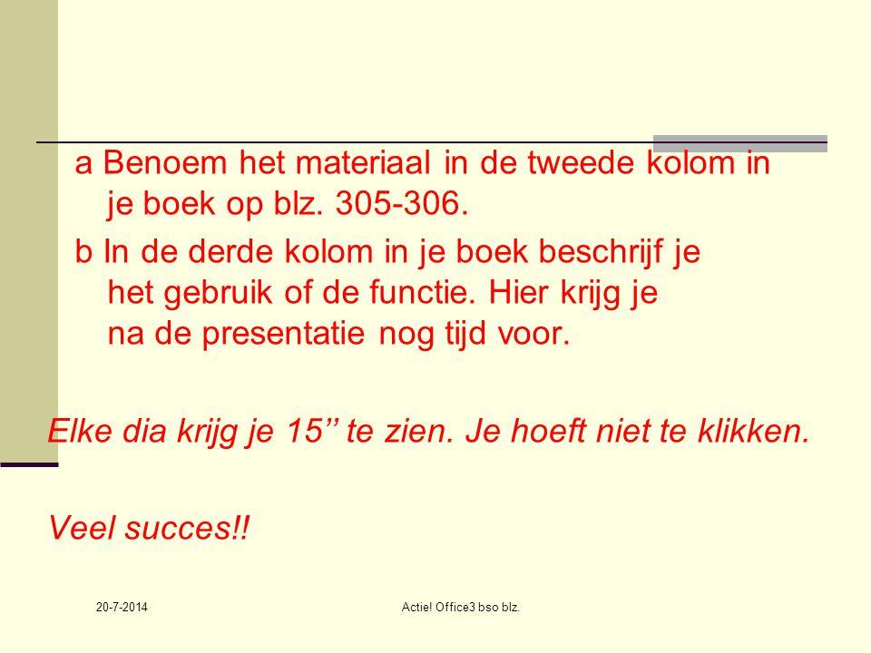 20-7-2014 Actie.Office3 bso blz. a Benoem het materiaal in de tweede kolom in je boek op blz.