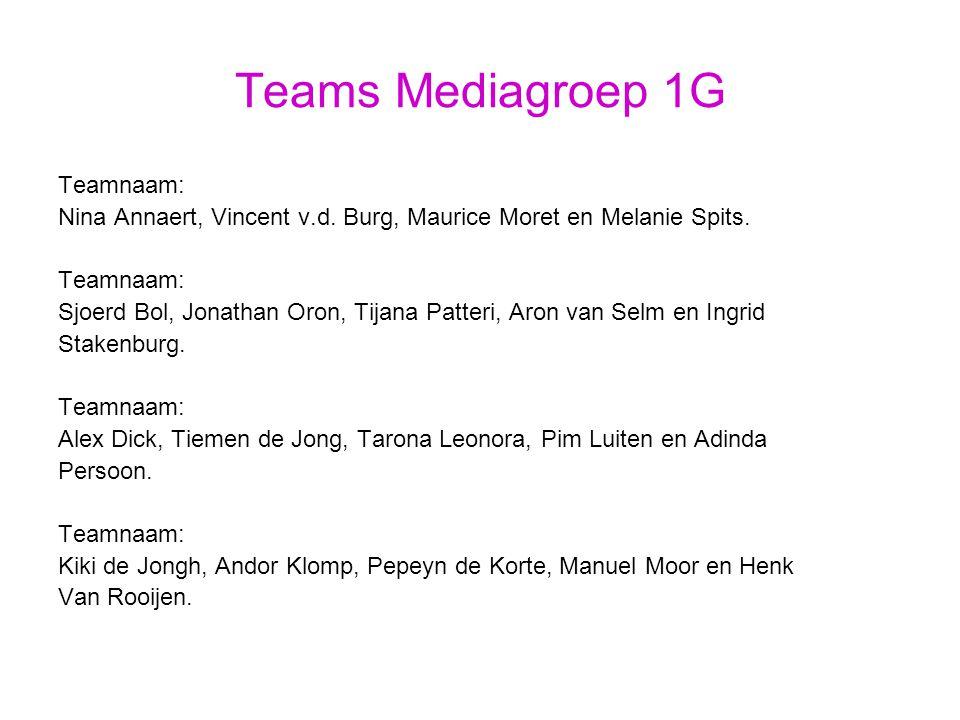 Teams Mediagroep 1G Teamnaam: Nina Annaert, Vincent v.d.