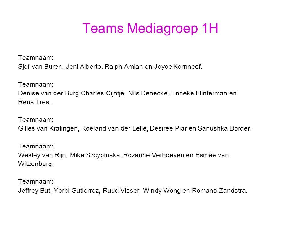 Teams Mediagroep 1H Teamnaam: Sjef van Buren, Jeni Alberto, Ralph Amian en Joyce Kornneef.